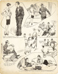 Illustration:Magazine, FRANK GODWIN (American 1889 - 1959) . Shopping with theWife, newspaper comic strip original, circa 1920s . Ink onboard...