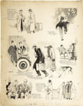 Illustration:Magazine, J. NORMAN LYND (American 1878 - 1943) . Vignettes of Life,Sunday newspaper comic strip illustration, circa 1930s . Ink...