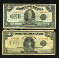 Canadian Currency: , DC-25o $1 1923 VG-Fine. DC-26k $2 1923 VG.. ... (Total: 2 notes)