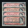 Canadian Currency: , BC-38b $2 1954. Three Examples. Fine or Better. BC-38d $2 1954.XF.. ... (Total: 4 notes)