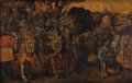 Fine Art - Painting, European:Antique  (Pre 1900), School of RUBENS (Flemish 17th Century). Meeting of Two MilitaryCompanies. Oil on hand-planed beveled oak panel. 25 x 3...