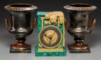 An Empire-Style Malachite and Gilt Bronze Clock with a Pair of Tole Painted Campana Urn Vases, 19th century elements