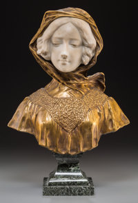 After Affortunato Gory (Italian/French) Female Bust Bronze, marble 16 inches (40.6 cm) high on 4-