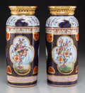 Ceramics & Porcelain, Continental:Other , A Pair of French Chinoiserie Porcelain and Gilt Bronze CylinderVases. 12-1/2 inches high (31.8 cm). ... (Total: 2 Items)
