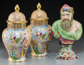Ceramics & Porcelain, A Pair of Herend Porcelain Ginger Jars with Mughal Motifs and Staffordshire Bust of Neptune, 19th century and later. Marks t... (Total: 3 Items)