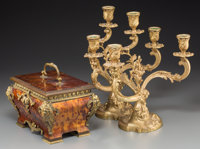 A Louis XV-Style Faux Tortoiseshell Jewelry Casket with a Pair of Gilt Bronze Candelabra 12-5/8 inches high (32.1