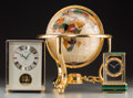 Decorative Arts, Continental:Other , Two Seiko and Imhof Rivoli Desk Clocks with Semi-Precious Stone andMother-of-Pearl Inlaid Globe, 20th century. 13-1/2 inche... (Total:3 Items)