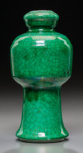 Asian:Chinese, A Chinese Green Glazed Porcelain Dou-Form Vase, Qing Dynasty, 18thcentury. 6-3/4 inches high (17.1 cm). ...