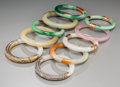 Asian:Chinese, Nine Chinese Jade and Jadeite Bangles with Associated SoapstoneBangle. One example with 14K gold hardware. 3-1/4 inches...(Total: 10 Items)