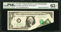 Error Notes:Foldovers, Fr. 1908-C $1 1974 Federal Reserve Note. PMG Gem Uncirculated 65EPQ.. ...