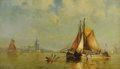 Fine Art - Painting, American:Modern  (1900 1949)  , WALTER FRANKLIN LANSIL (American 1846-1933). In DordrechtHarbor, Holland, 1900. Oil on original unlined canvas. 14 x24...