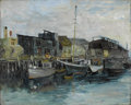 Fine Art - Painting, American:Modern  (1900 1949)  , Attributed to CHARLES E. DUNCAN RODICK (American Early TwentiethCentury). Wharf Scene. Oil on original unlined canvas. ...