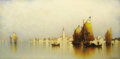 Fine Art - Painting, American, ANDREW FISHER BUNNER (American 1841-1897). Venetian FishingBoats, San Lazarro. Oil on canvas. 15 x 30 inches (38.1 x 76...