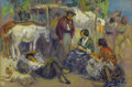 Fine Art - Painting, American, FRANCIS LUIS MORA (American 1874-1940). Spanish Market.Watercolor on paper. 20 x 27-1/2 inches (50.8 x 69.9 cm) framed...