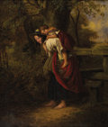 Fine Art - Painting, European, H.C. BRYANT (British 1812-1890). The Tired Pet. Oil on canvas. 16 x 13-3/4 inches (40.6 x 34.9 cm). Signed lower right: ...