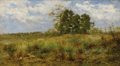 Fine Art - Painting, American, JAMES CRAWFORD THOM (American 1853-1898). The Meadow Grass,Atlantic Highlands, New Jersey, 1892. Oil on panel. 10 x 18 ...