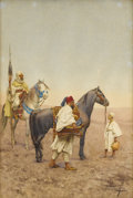Fine Art - Painting, European, GIULIO ROSATI (Italian 1858-1917). Stopping for Rest in theDesert. Watercolor and pencil on paper. 21 x 14 inches (53.3...