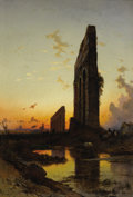 Fine Art - Painting, European:Modern  (1900 1949)  , HERMANN DAVID SALOMON CORRODI (Italian 1844-1905). Sunset by theRuins. Oil on canvas. 44-1/2 x 30 inches (113.0 x 76.2...
