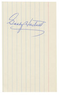 Autographs:Index Cards, Gabby Hartnett Signed Index Card. The Hall of Fame slugging catcherGabby Hartnett has placed a marvelous example of his si...