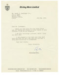 Autographs:Others, 1979 Stirling Moss Signed Typed Letter. The British racecar legendStirling Moss rose to prominence in the 1950s, but never...