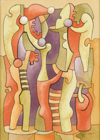 BROR UTTER (1913-1993) Untitled Circus Clowns and Jugglers, 1986 Gouache and ink on paper 11 x 8 inches (27
