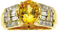 Estate Jewelry:Rings, Yellow Sapphire, Diamond, Gold Ring. The ring features anoval-shaped yellow sapphire measuring 9.40 x 7.45 x 5.40 mm and ...(Total: 1 Item)