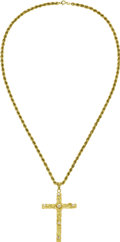 Estate Jewelry:Necklaces, Diamond, Gold, Cross Necklace. The pendant, designed as a cross,features full-cut diamonds weighing a total of approximat...(Total: 1 Item)