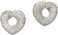Estate Jewelry:Earrings, Diamond, White Gold Earrings. Each earring, designed as a stylizedheart, features full-cut diamonds pavé set in 18k white... (Total:1 Item)