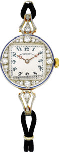 Timepieces:Pocket (post 1900), Vacheron & Constantin, Lady's Diamond, Platinum, Gold, DoubleCord Wristwatch, circa 1918. Case: 21 mm, platinum and yello...(Total: 1 Item)