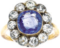 Estate Jewelry:Rings, Victorian Sapphire, Diamond, Platinum-Topped Gold Ring. The ringfeatures a cushion-cut sapphire measuring 9.00 x 9.00 x 4...(Total: 1 Item)