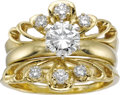 Estate Jewelry:Rings, Diamond, Gold Ring Set. The set includes: one solitaire ringfeaturing a round brilliant-cut diamond measuring 6.39 - 6.42...(Total: 1 Item)