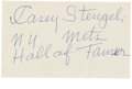 Autographs:Index Cards, Casey Stengel Signed Index Card. Old Perfesser Casey Stengel has applied a marvelous blue ink signature to the unlined side...