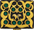 Estate Jewelry:Objects d'Art, Retro Rhinestone, Enamel, Yellow Metal Compact, Flato. The hingedyellow metal case featuring green rhinestones enhanced b... (Total:1 Item)
