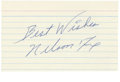 Autographs:Index Cards, Nelson Fox Signed Index Card. Top AL second baseman Nellie Fox established a record when he played 798 straight games at th...
