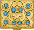 Estate Jewelry:Objects d'Art, Retro Rhinestone, Yellow Metal Compact, Flato. The hinged yellowmetal case featuring blue rhinestones, opens to reveal a ...(Total: 1 Item)