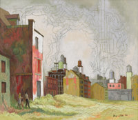 BROR UTTER (1913-1993) Untitled Cityscape, 1966 Oil on linen 19 x 22 inches (48.3 x 55.9 cm) S