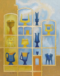 BROR UTTER (1913-1993) Untitled Niches and Apothecary Jars, 1966 Oil on linen 30 x 24 inches (76