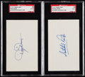 Autographs:Index Cards, Satchel Paige and Dizzy Dean Signed Index Cards SGC Authentic Lotof 2....