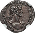 Ancients:Roman Imperial, Ancients: Hadrian (AD 117-138). AR denarius (19mm,3.49 gm, 6h). NGCAU ★ 5/5 - 5/5....