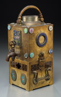 Asian:Chinese, A Chinese Cloisonné and Enamel-Decorated Bronze Teapot and WarmingStand, early Republic Period, circa 1915. 11-1/4 h x 5 w ...