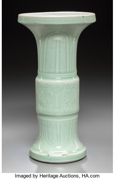 A Chinese Incised Celadon Glazed Porcelain Gu Beaker Vase Lot