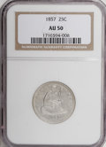 Seated Quarters: , 1857 25C AU50 NGC. NGC Census: (8/317). PCGS Population (14/268).Mintage: 9,644,000. Numismedia Wsl. Price for NGC/PCGS co...