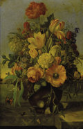 Fine Art - Painting, European:Antique  (Pre 1900), Attributed to FRANZ XAVER PETTER (Austrian, 1791-1866).Elaborate Floral Bouquet on a Marble Ledge with a LandscapeBeyond...