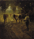 Fine Art - Painting, European:Modern  (1900 1949)  , R. B. PASQUELL (French 19th century). Leading the Cows to Pasture. Oil on canvas laid on board. 13-3/4 x 12 inches (35.1...