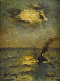 ALFRED GEORGE STEVENS (British, 1823-1906) Ships, Sun Breaking Through Clouds, 1896 Oil on panel