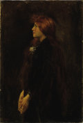 Fine Art - Painting, European:Antique  (Pre 1900), Attributed to JEAN JACQUES HENNER (French 1829-1905). Portrait,Red Haired Beauty Standing in Profile. Oil on canvas. 18...