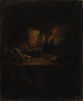 Paintings, Circle of GODFRIED SCHALCKEN (Dutch 1643-1706). Two Scholars by Candlelight. Oil on canvas. 13-1/2 x 11-1/2 inches (34.3...