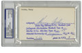 Autographs:Index Cards, Henry Jordan Signed Index Card, PSA Authentic. Some adoring fan of the Hall of Fame great Henry Jordan sent the player this...