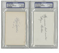 Football Collectibles:Balls, Wayne Millner and Cliff Battles Signed Index Cards, PSA-Authentic Lot of 2. This duo of Hall of Famers and early members of...