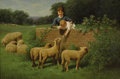 Fine Art - Painting, American:Antique  (Pre 1900), SAMUEL S. CARR (American 1837-1908). Child Feeding theSheep. Oil on canvas. 12 x 18 inches (30.5 x 45.7 cm). Signedlow...
